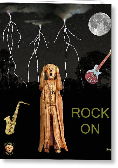 Scream World Tour Mixed Media Greeting Cards - The Scream World Tour  Scream Rocks Rock on Greeting Card by Eric Kempson