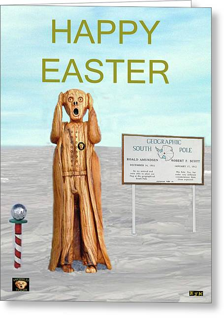 Sea Dog Greeting Cards Greeting Cards - The Scream World Tour South Pole Happy Easter Greeting Card by Eric Kempson
