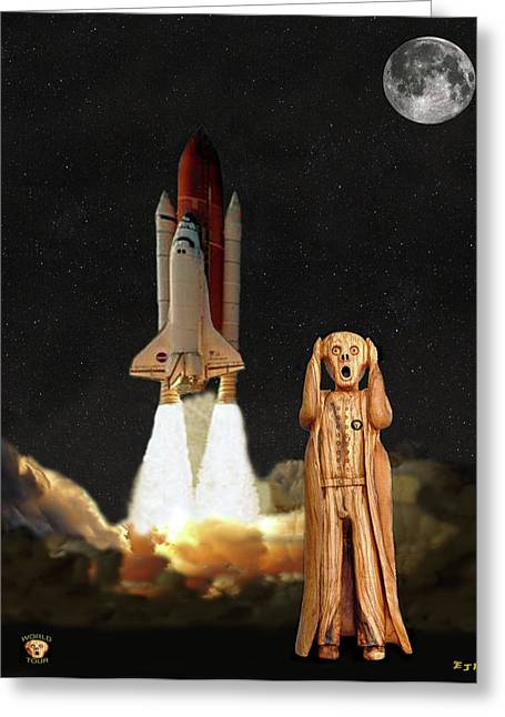 Recently Sold -  - Enterprise Mixed Media Greeting Cards - The Scream World Tour Space Shuttle Greeting Card by Eric Kempson