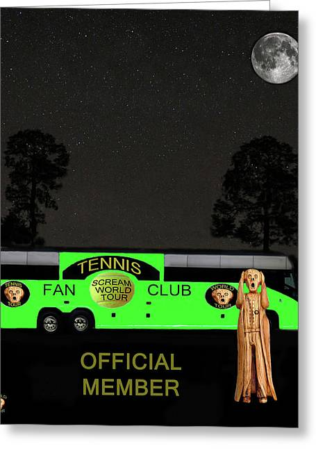 Hardcourt Greeting Cards - The Scream World Tour Tennis tour bus Greeting Card by Eric Kempson