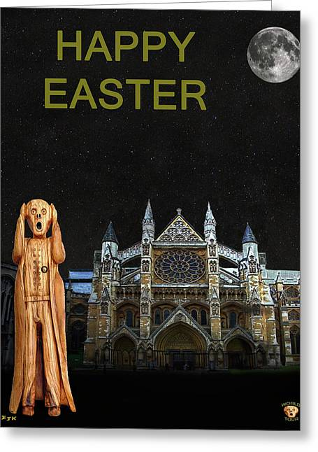 The Scream World Tour Westminster Abbey Happy Easter Greeting Card by Eric Kempson