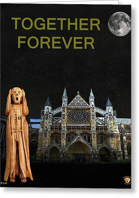 Best Sellers -  - Kate Middleton Greeting Cards - The Scream World Tour Westminster Abbey Together Forever Greeting Card by Eric Kempson