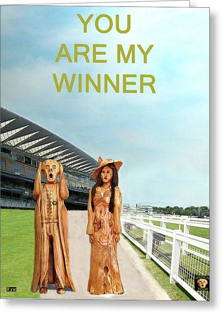 The Horse Greeting Cards - The Scream World Tour with Fashion Ascot Races you are my winner Greeting Card by Eric Kempson