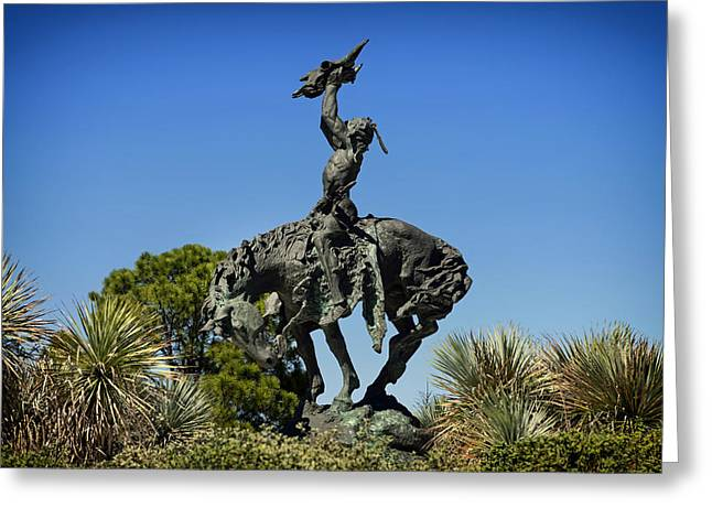 Horse Sculptures Greeting Cards - The Sculpture INVOCATION - Orange Texas Greeting Card by Mountain Dreams