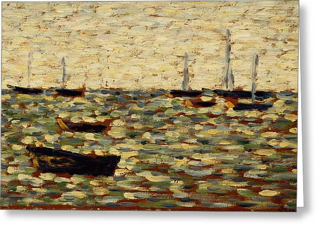 Sailboat Art Greeting Cards - The Sea at Grandcamp Greeting Card by Georges Pierre Seurat
