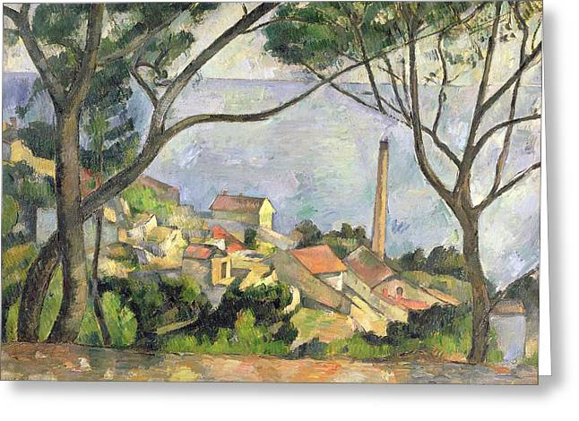Provence Village Greeting Cards - The Sea at l Estaque Greeting Card by Paul Cezanne