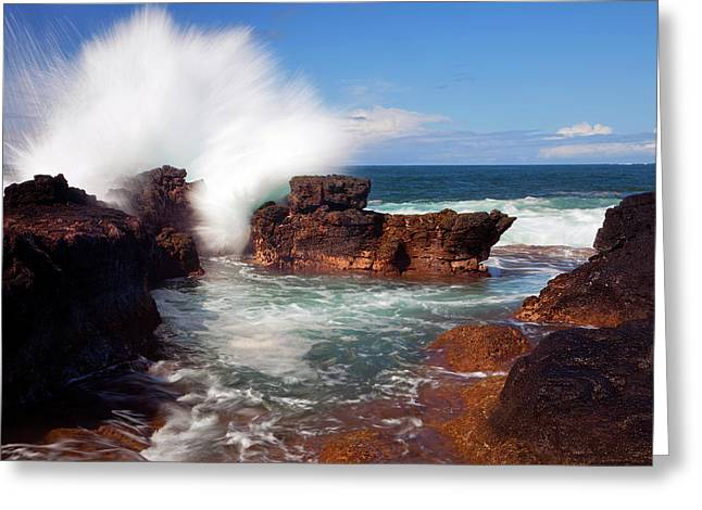 The Sea Explodes Greeting Card by Mike  Dawson
