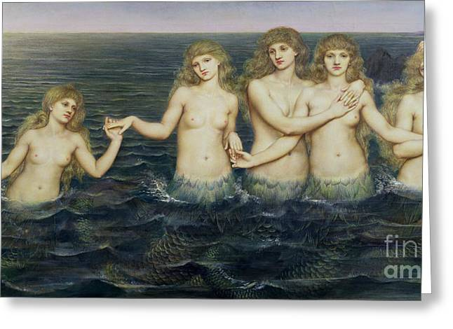 Tails Paintings Greeting Cards - The Sea Maidens Greeting Card by Evelyn De Morgan