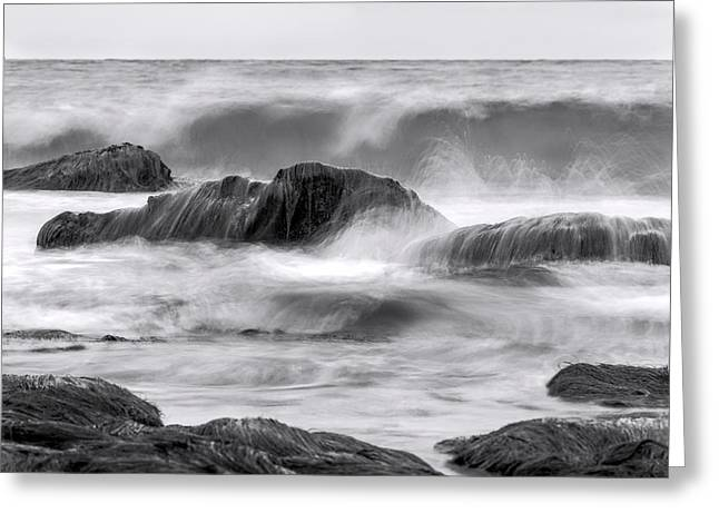 California Beach Art Greeting Cards - The Sea Marches On bw Greeting Card by Denise Dube