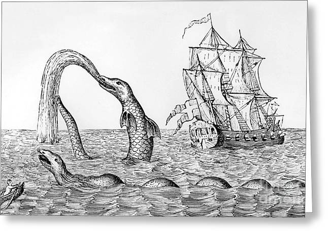 Water Vessels Greeting Cards - The Sea Serpent Greeting Card by English School