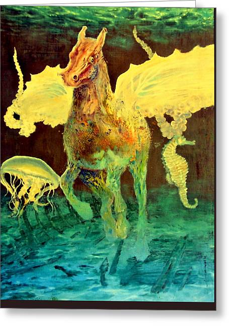 Transfer Paintings Greeting Cards - The Seahorse Greeting Card by Henryk Gorecki