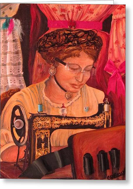 The Seamstress Greeting Card by Carol Allen Anfinsen