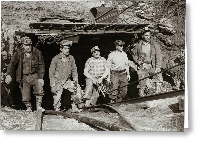 Anthracite Greeting Cards - The search and retrieval team after the Knox Mine disaster Port Griffith PA 1959 at mine entrance Greeting Card by Arthur Miller