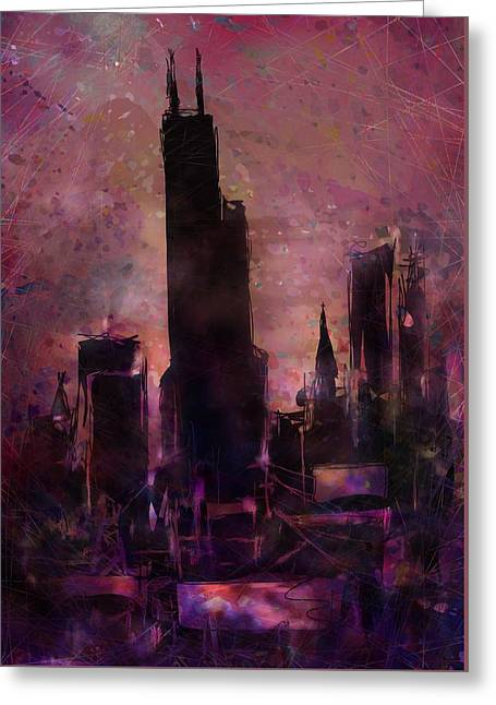 Old Town Digital Greeting Cards - The Sears Tower Greeting Card by Rachel Christine Nowicki