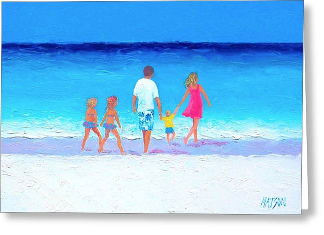 People At The Beach Greeting Cards - The Seaside Holiday - Beach Painting Greeting Card by Jan Matson