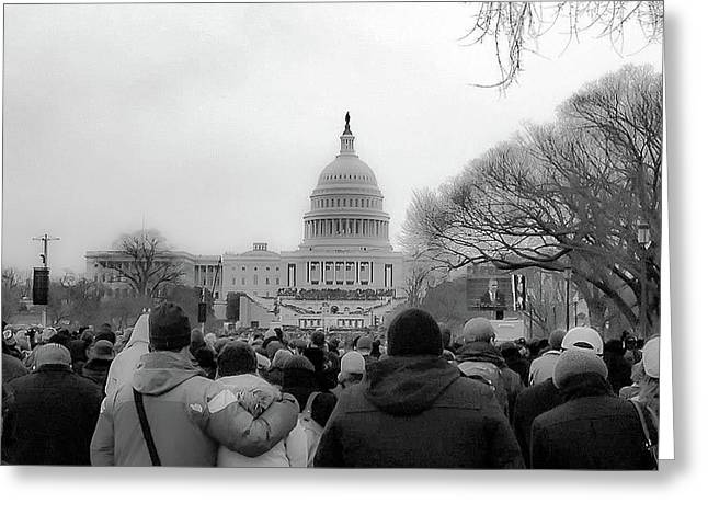 The Second Inauguration Of President Barack Obama Greeting Card by Rick Grossman