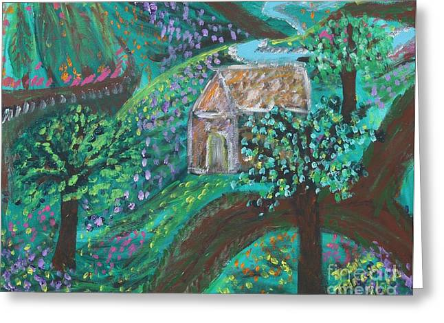 Shack Greeting Cards - The Secret Cottage Greeting Card by Jasmine Tolmajian