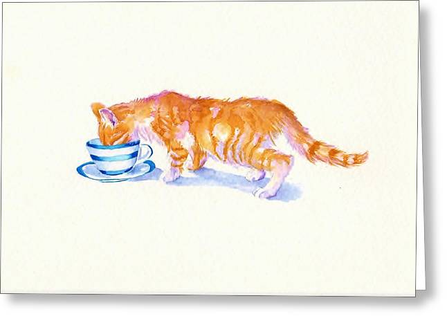Coffee Drinking Paintings Greeting Cards - The Secret Drinker Greeting Card by Debra Hall