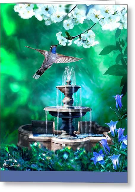 Wildlife In Gardens Greeting Cards - The secret Garden Greeting Card by Gina Femrite