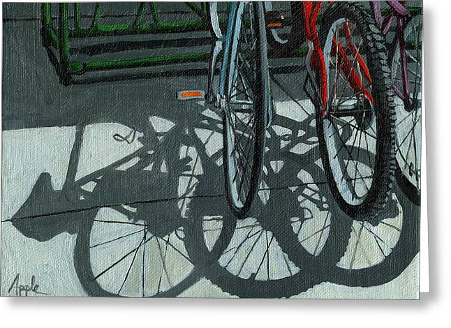 Linda Apple Greeting Cards - The Secret Meeting - bicycle shadows Greeting Card by Linda Apple
