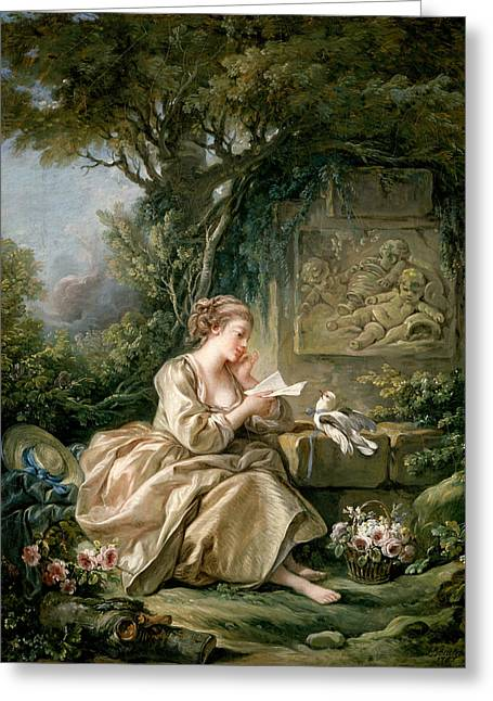 The Secret Message Greeting Card by Francois Boucher