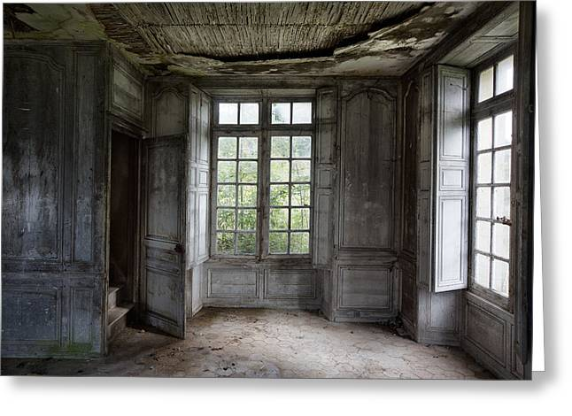 Stair Case Greeting Cards - The secret stairs to heaven - abandoned building Greeting Card by Dirk Ercken