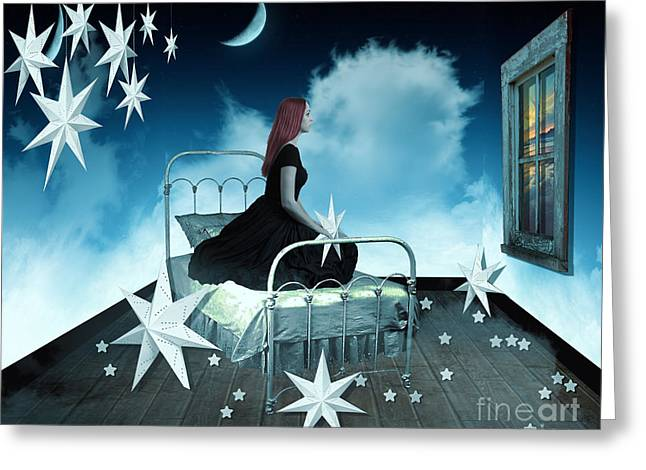Bed Greeting Cards - The Secret World of Dreaming Greeting Card by Juli Scalzi