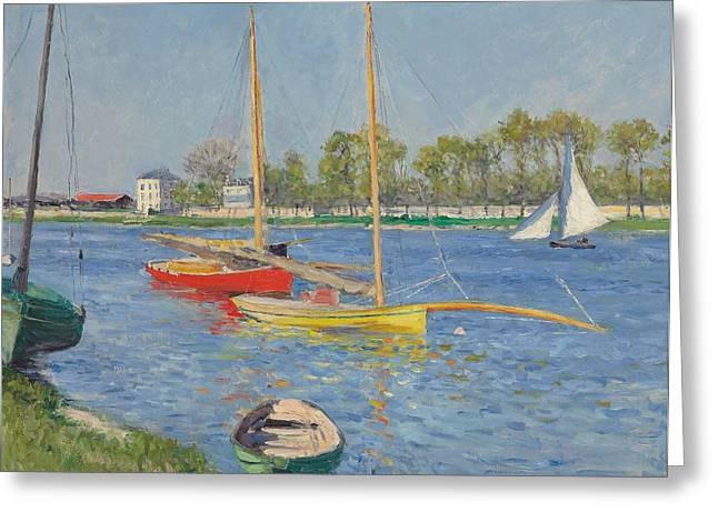 Yachting Greeting Cards - The Seine at Argenteuil Greeting Card by Gustave Caillebotte