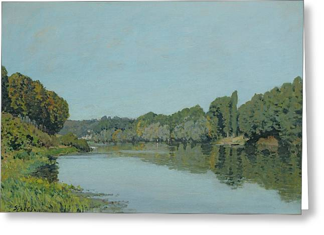 Bougival Greeting Cards - The Seine at Bougival Greeting Card by Alfred Sisley