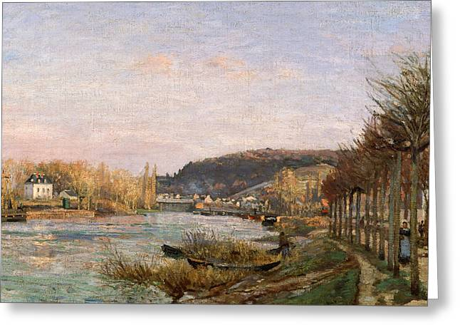 The Seine At Bougival Greeting Card by Camille Pissarro