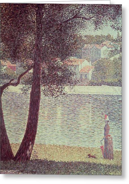 Dog Walking Greeting Cards - The Seine at Courbevoie Greeting Card by Georges Pierre Seurat