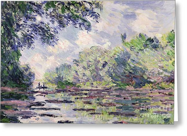 Punting Greeting Cards - The Seine at Giverny Greeting Card by Claude Monet