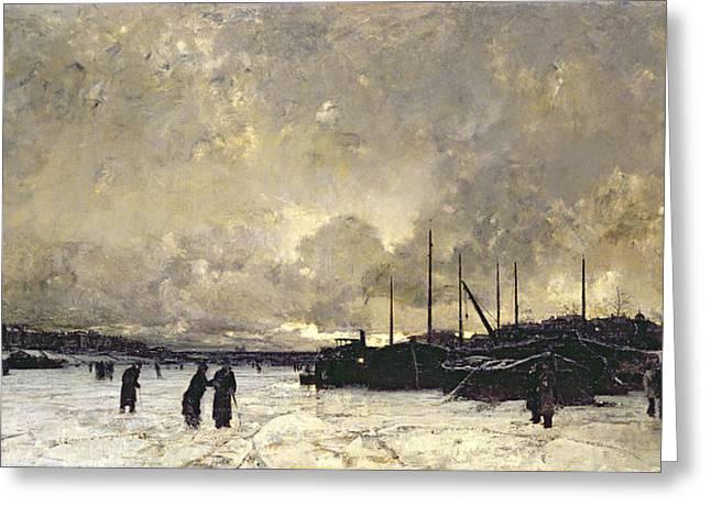 Rural Snow Scenes Greeting Cards - The Seine in December Greeting Card by Luigi Loir