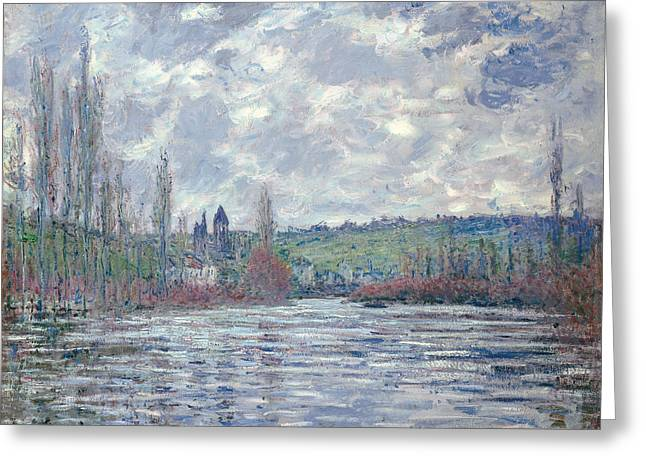 The Seine In Flood At Vetheuil Greeting Card by Claude Monet