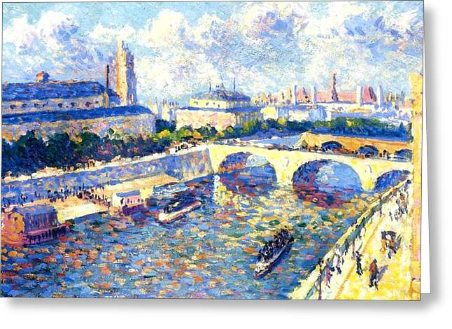 The Horse Greeting Cards - The Seine Paris Greeting Card by Maximilien Luce