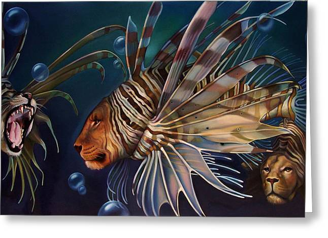 Lionfish Greeting Cards - The Sentinels Greeting Card by Patrick Anthony Pierson