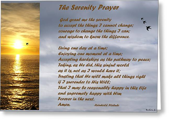 The Serenity Prayer Greeting Card by Barbara Snyder
