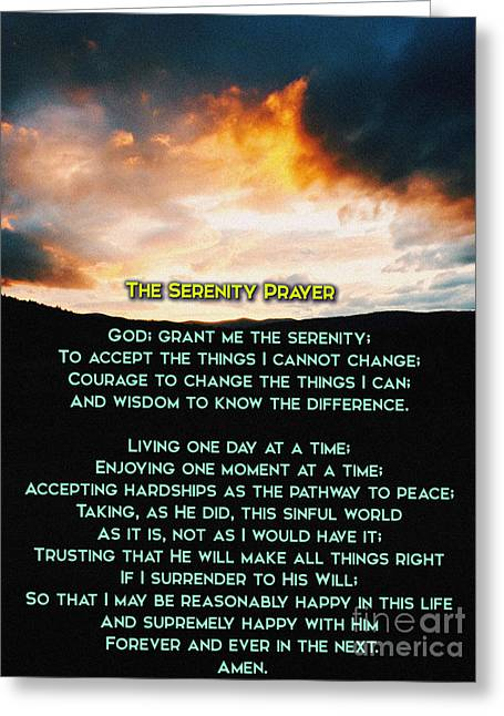 Praying Hands Greeting Cards - The Serenity Prayer Greeting Card by Celestial Images