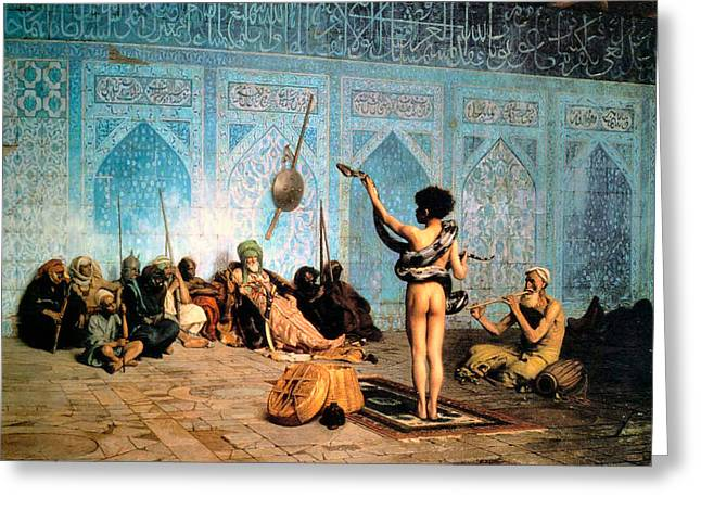 The Serpent Charmer Greeting Card by Jean Leon Gerome