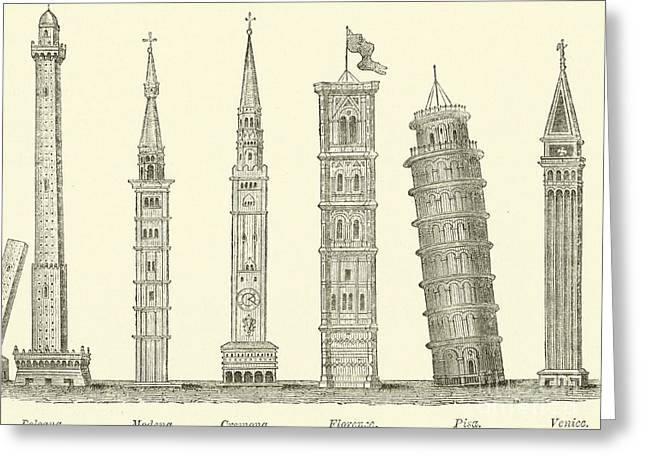 The Seven Great Towers Greeting Card by English School