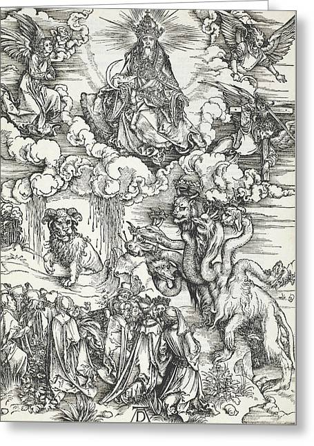 The Seven-headed Beast And The Beast With Lamb's Horns Greeting Card by Albrecht Durer