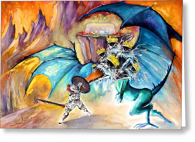 The Seven Headed Dragon And The Sleeping Princess Greeting Card by Miki De Goodaboom