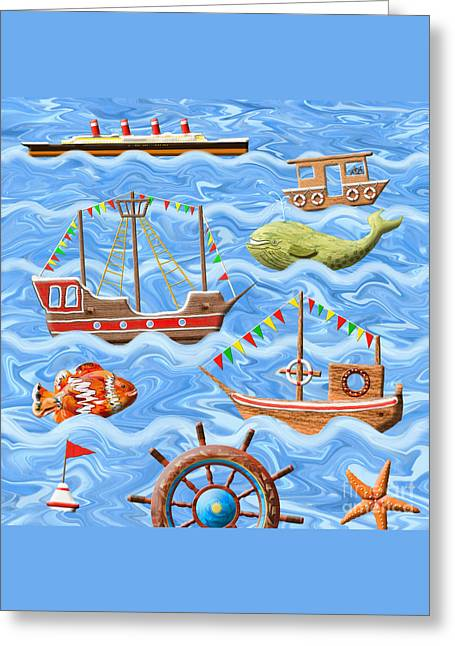 Toy Boat Greeting Cards - The Seven Seas Greeting Card by Grigorios Moraitis