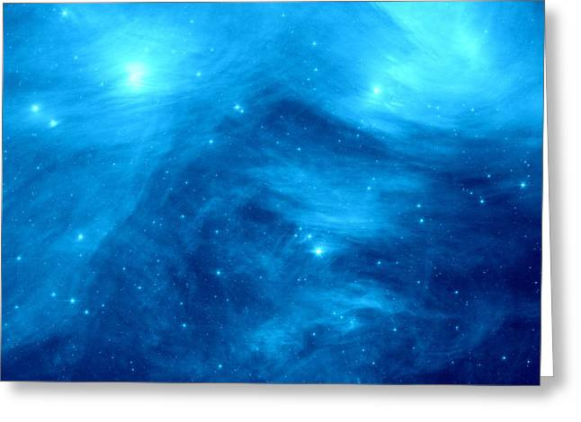 Intergalactic Space Greeting Cards - The Seven Sisters Blue Greeting Card by Johari Smith