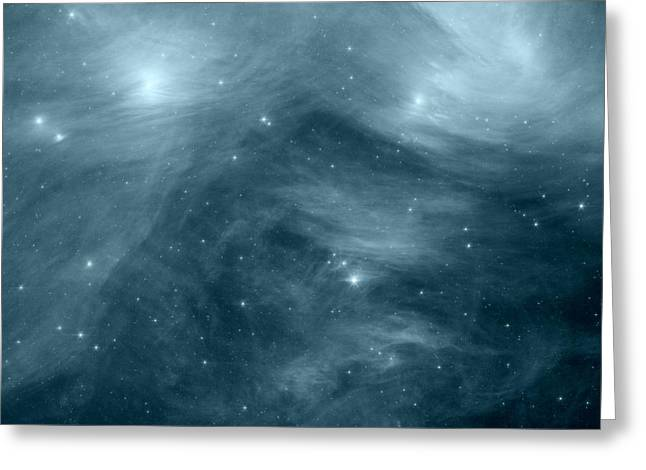 Intergalactic Space Greeting Cards - The Seven Sisters Ice Blue Greeting Card by Johari Smith
