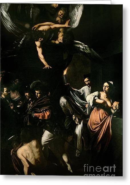Breast Paintings Greeting Cards - The Seven Works of Mercy Greeting Card by Caravaggio