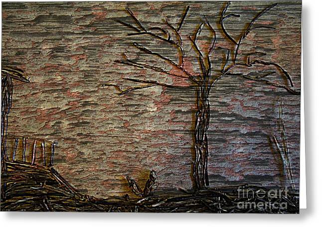 Shack Mixed Media Greeting Cards - The Shack and Tree Greeting Card by Mary Chris Hines