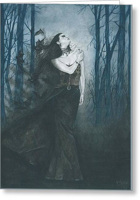 Night Angel Greeting Cards - The shadow is Lyra Greeting Card by Isis Raye