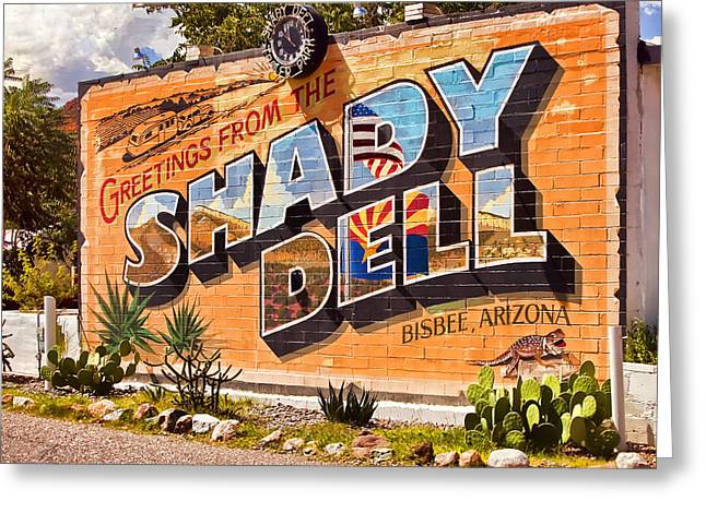 Bisbee Greeting Cards - The Shady Dell Bisbee AZ Greeting Card by Lynn Andrews