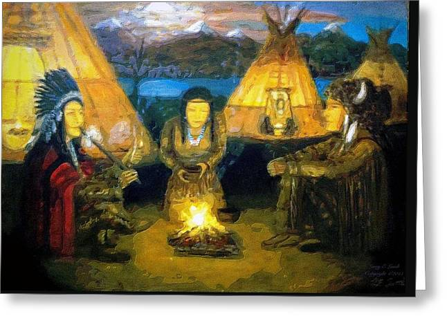The Shamans Council Greeting Card by Larry Lamb